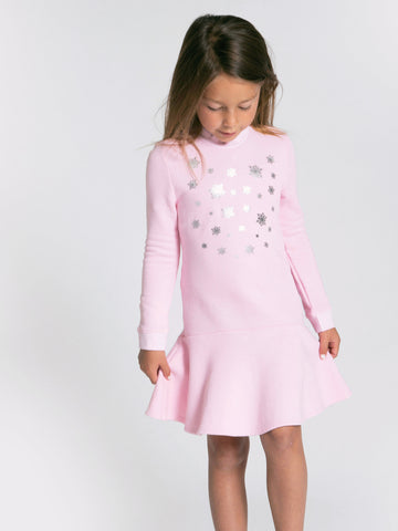 METALIC SNOWFLAKE FLARE DRESS