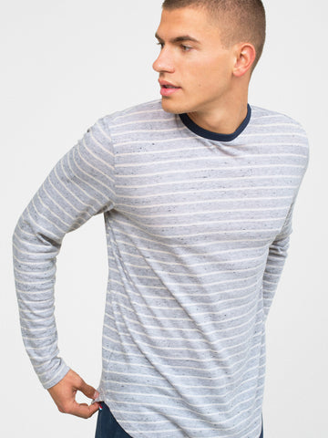 PEPPERED STRIPE LONG SLEEVE CREW