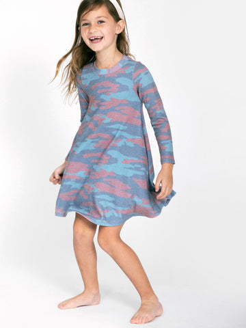 SOL FLAG CAMO HACCI LONG SLEEVE DRESS