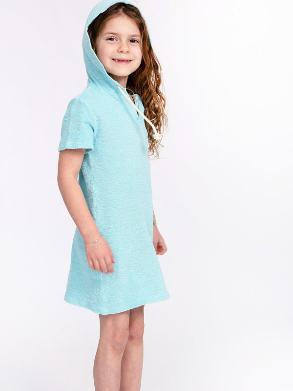 LOOP TERRY HOODED DRESS