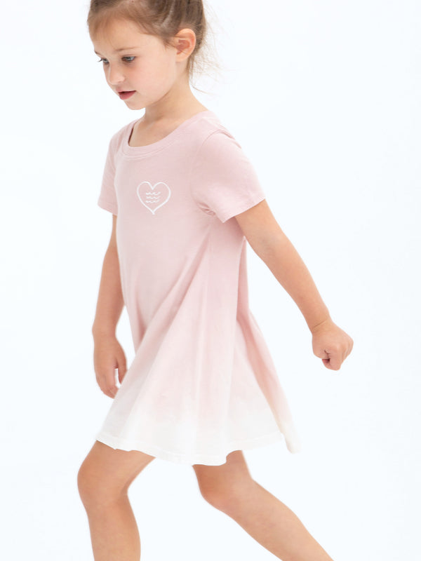 OMBRE SHORT SLEEVE FLOUNCE DRESS