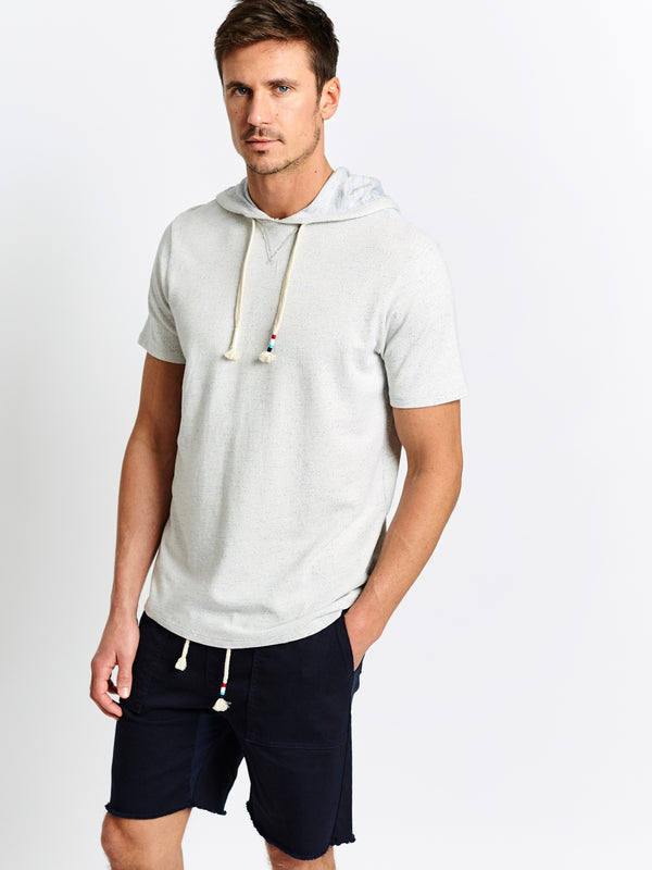 SPECKLED FRENCH TERRY SHORT SLEEVE HOODIE