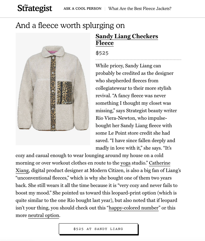 CHECKERS FLEECE | NY MAG