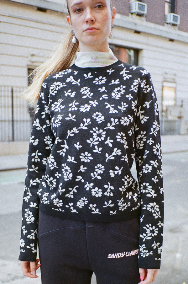 Floral Sweater in Black/White