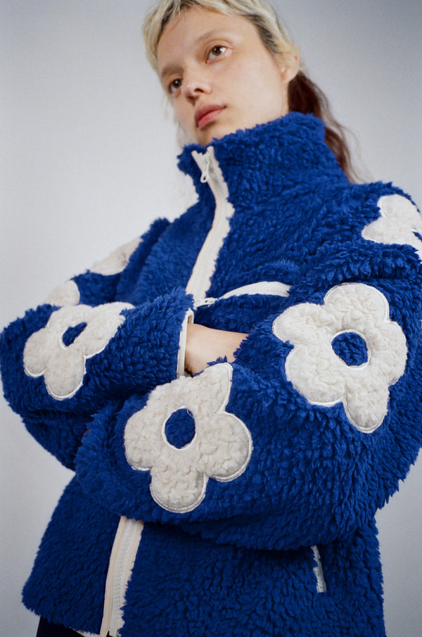 Grass Fleece in Cobalt