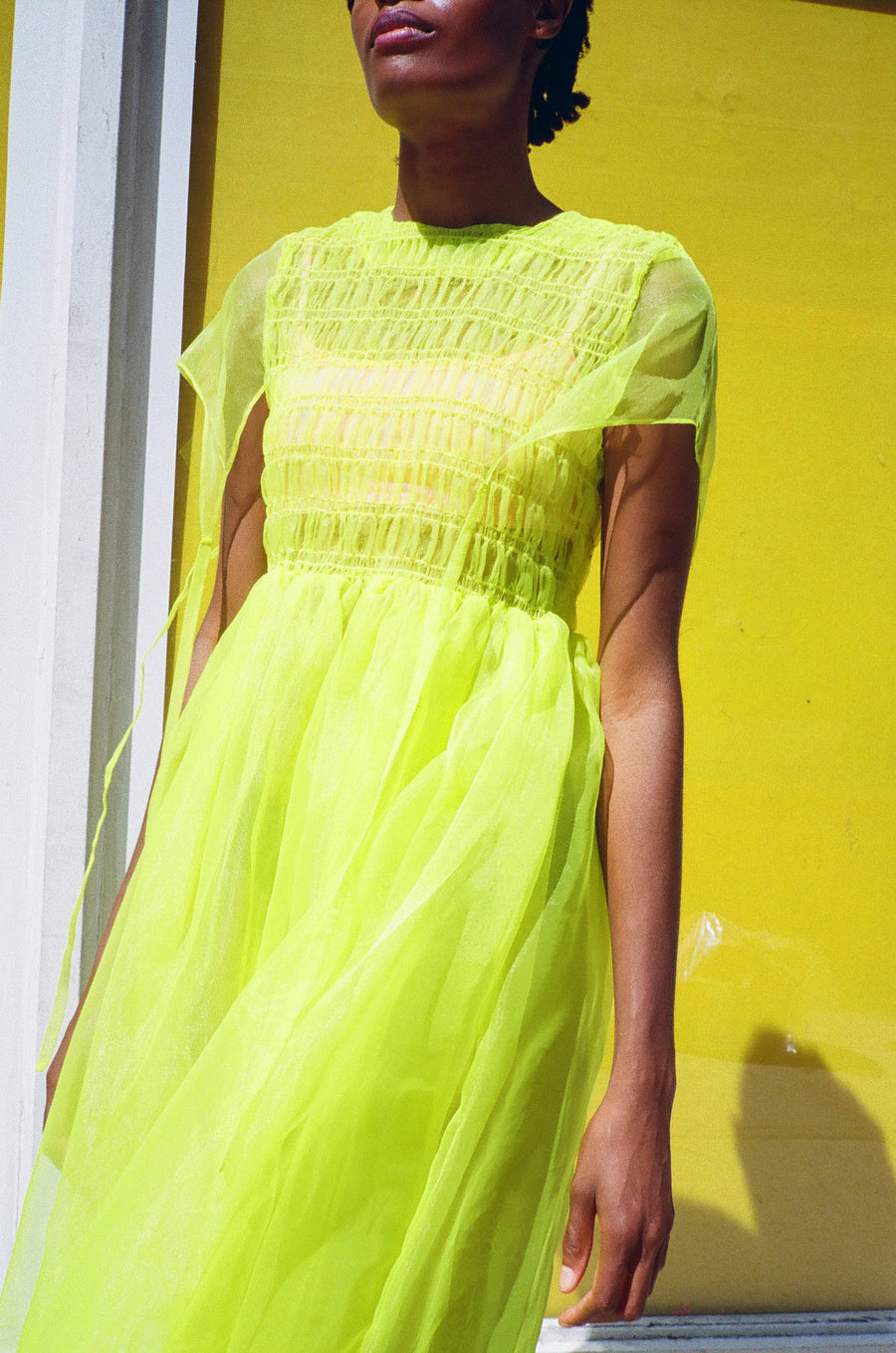 Greg Dress  in Highlighter Yellow