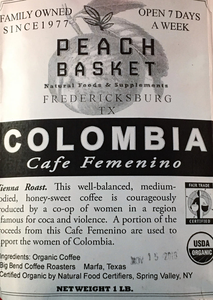 Big Bend Coffee Roasters Colombia Coffee Organic Whole Bean 1 lb.