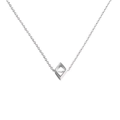 Life isn't square necklace silver