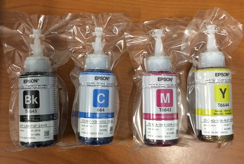 Original Epson ink bottles CMYK 70ml sizes (L100, L382)