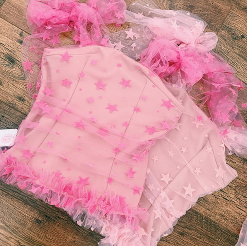 Ruffle Bright Pink Star Top
