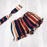 Orange Stripe Frill Shorts and Headband