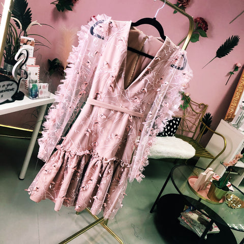 Pink Butterfly Long Sleeve Dress