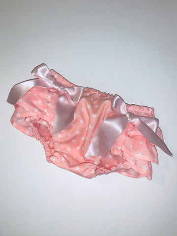 Pink Stars Baby Frilly Knickers Jam Pants Bloomers with Bows
