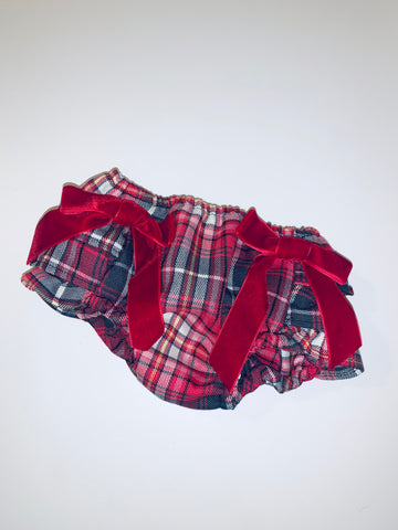 Red Tartan Baby Frilly Knickers Jam Pants Bloomers with Bows