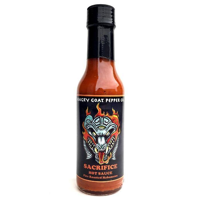 Sacrafice Fire-Roasted Habanero Sauce - Angry Goat Pepper Co. Heat Hot Sauce Shop
