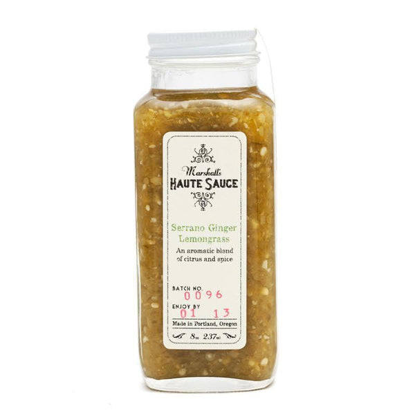 Serrano Ginger Lemongrass Hot Sauce - Marshall's Haute Sauce Heat Hot Sauce Shop
