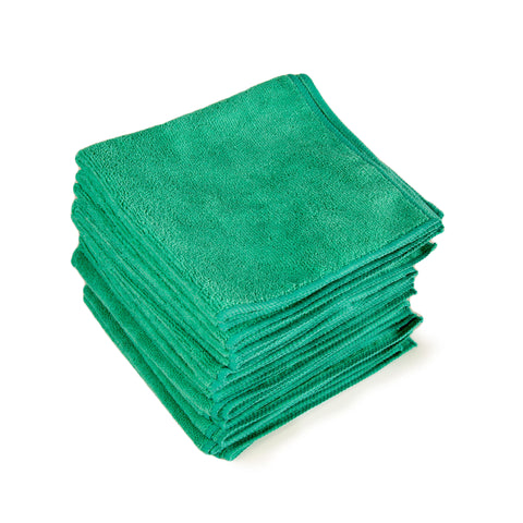 "Green Microfiber ""Taddy"" Towels 16""X16"" - 12 pack"
