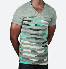 Superstripe Charcoal V-Neck Tee