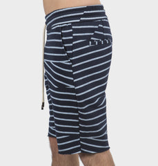 Lines Navy Drawstring Shorts