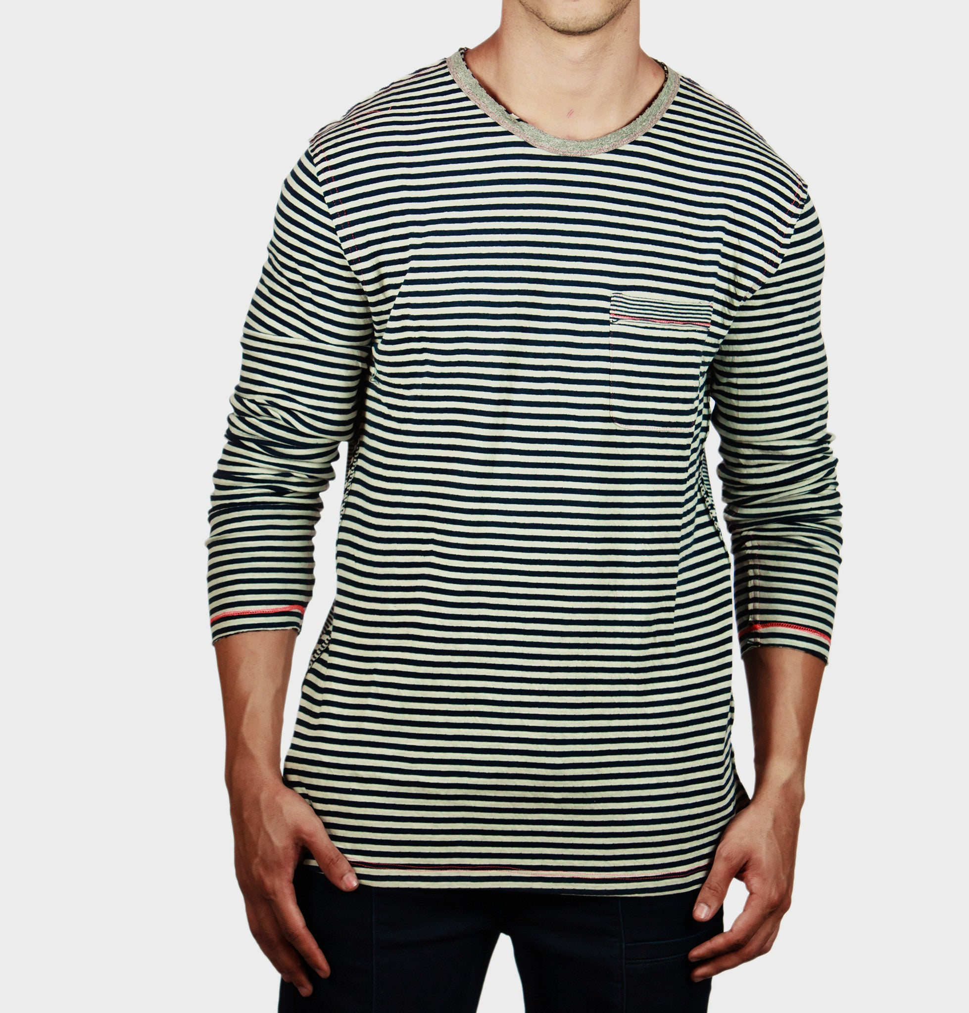 Maximo Navy Striped Sweatshirt