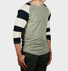 Mual Navy Striped Sleeve Tee