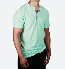Muralla Mint Short Sleeve Henley (Colorful Placket)
