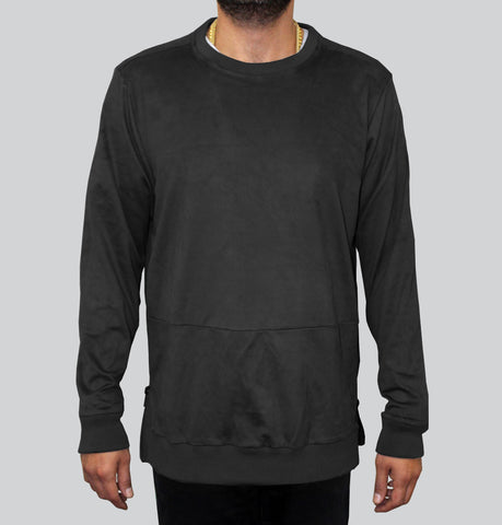 The Portis Ultra Suede Black Sweatshirt