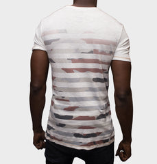 Superstripe Rust V-Neck Graphic Tee