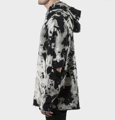 West Oversized Black Bleached Hoodie