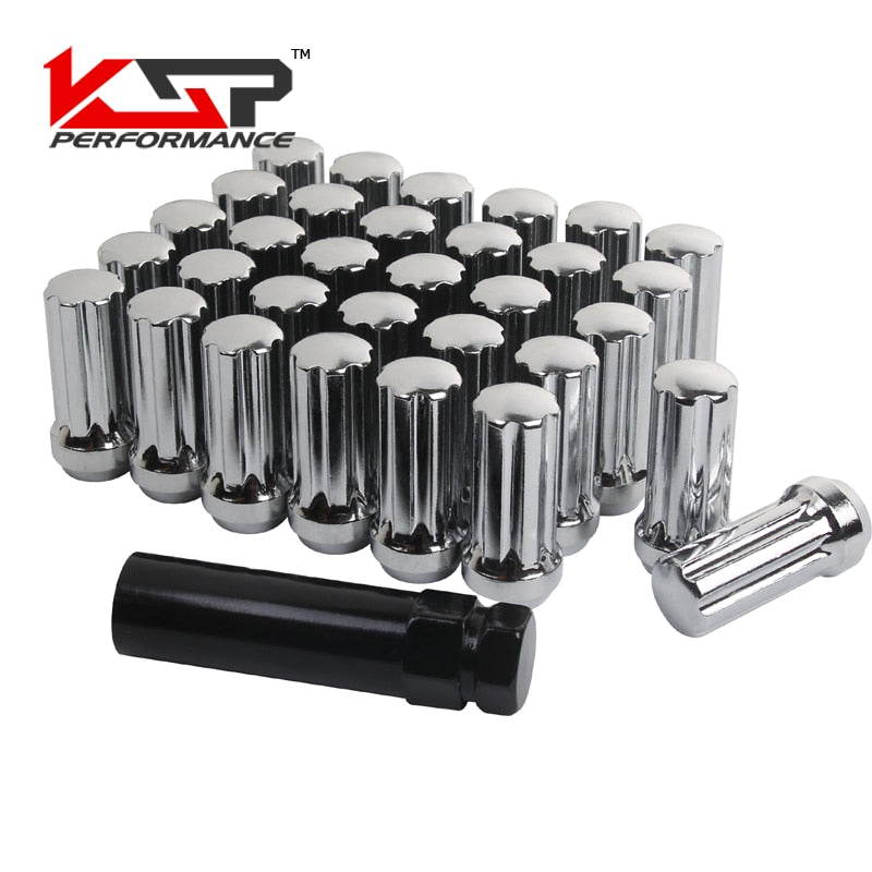 KSP 32pc M14x1.5 Thread Chrome 7 Spline Locking Lug Nuts with 1 Key KSP 32pc M14x1.5 Thread Chrome 7 Spline Locking Lug Nuts with 1 Key, Lug Nut, AutoCapshack.com, AutoCapshack.com - American Eagle Wheel Corp.