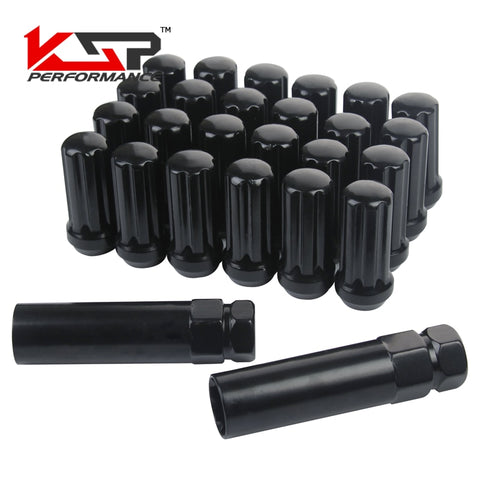 KSP Set of 24 Pieces Black M14x1.5 Closed End Duplex XL Spline Lug Nuts With 2 Keys KSP Set of 24 Pieces Black M14x1.5 Closed End Duplex XL Spline Lug Nuts With 2 Keys, Lug Nut, AutoCapshack.com, AutoCapshack.com - American Eagle Wheel Corp.