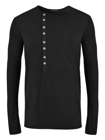 Long Sleeve Jersey Top with Buttons - LAMIS KHAMIS