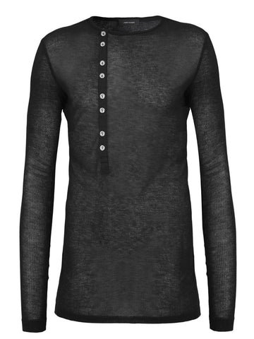 Long Sleeve Ribbed Top with Buttons - LAMIS KHAMIS