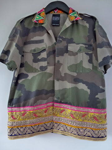 Camo shirt with multi coloured detail - LAMIS KHAMIS