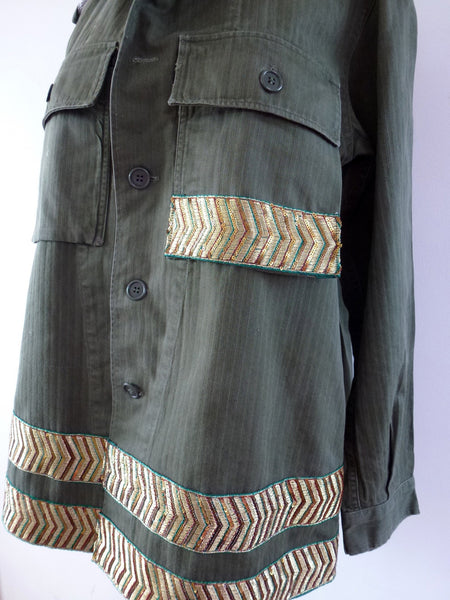 Vintage army shirt with border detail - LAMIS KHAMIS