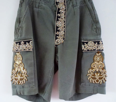 Vintage army shorts with gold detail - LAMIS KHAMIS