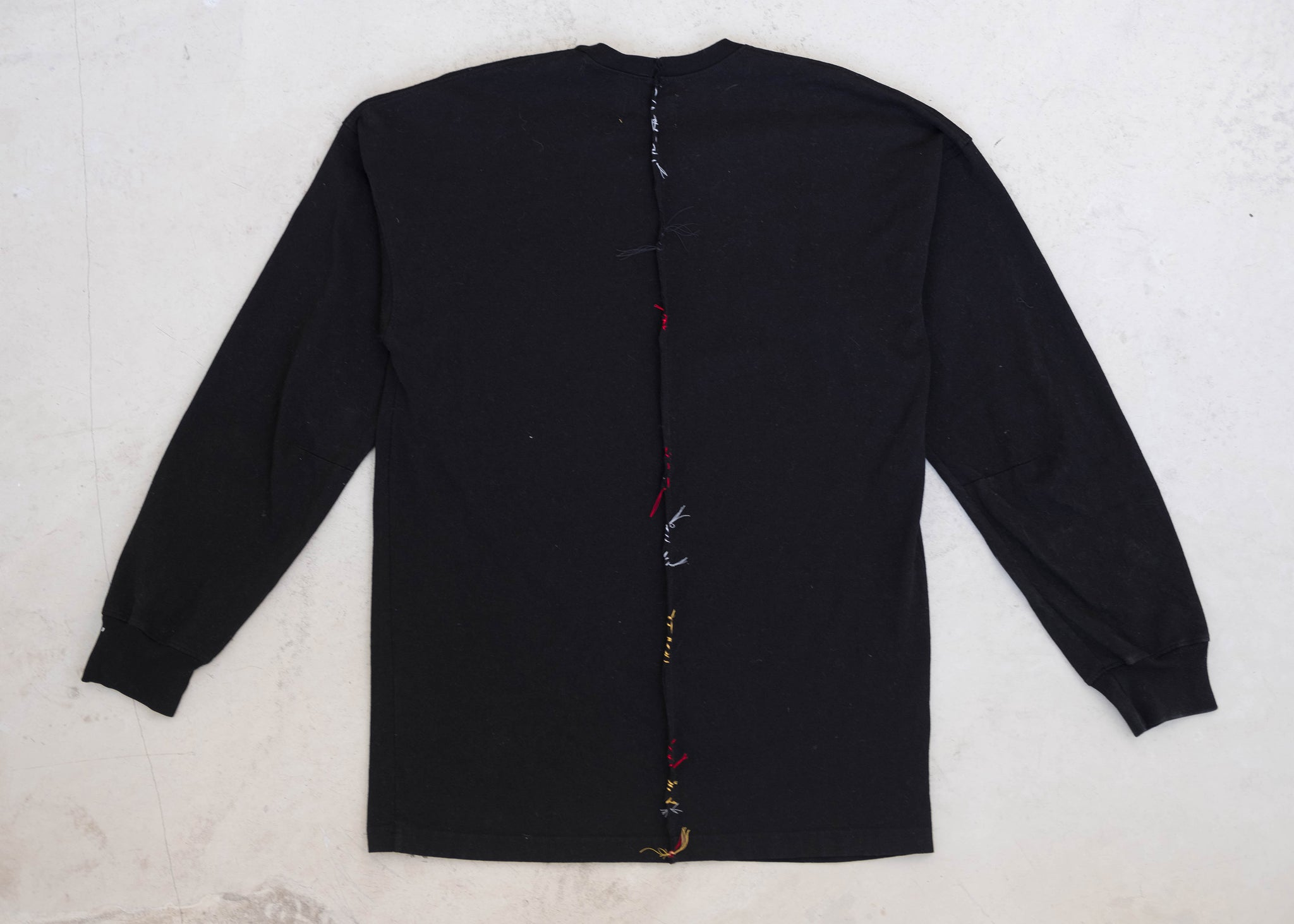 Long Sleeve Back-Slit Adorn Tee - Black/Multi