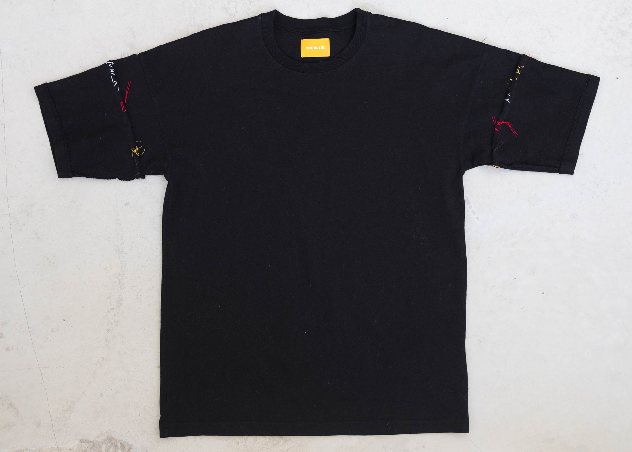 Short Sleeve Reverse Arm Adorn Tee - Black/Multi