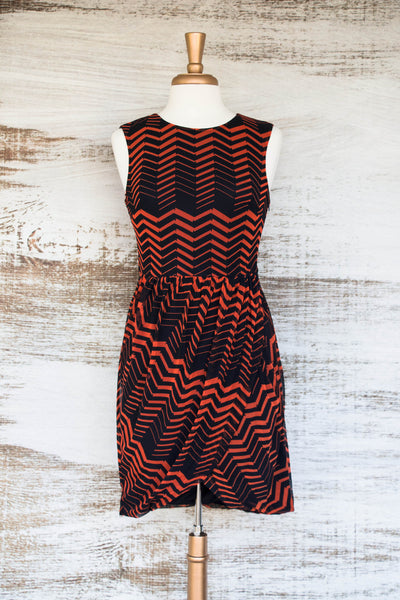 Eye of the Tiger Faux Wrap Dress Orange/Navy