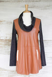 Grey Cowl Neck Brown Leather Front THML