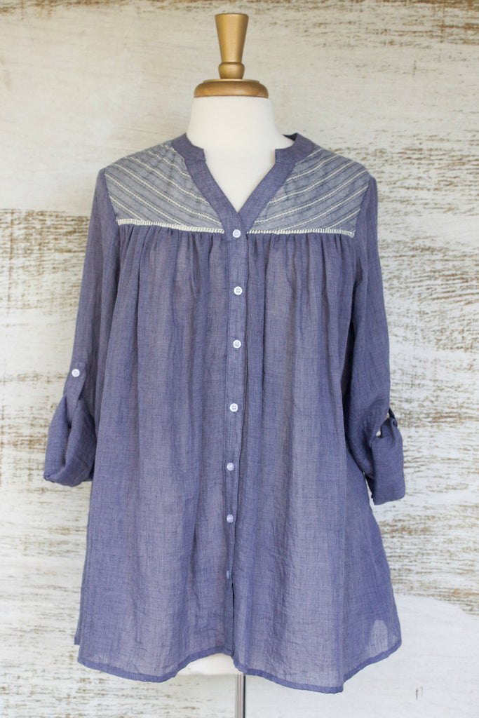 Denim Prairie Flowy Top