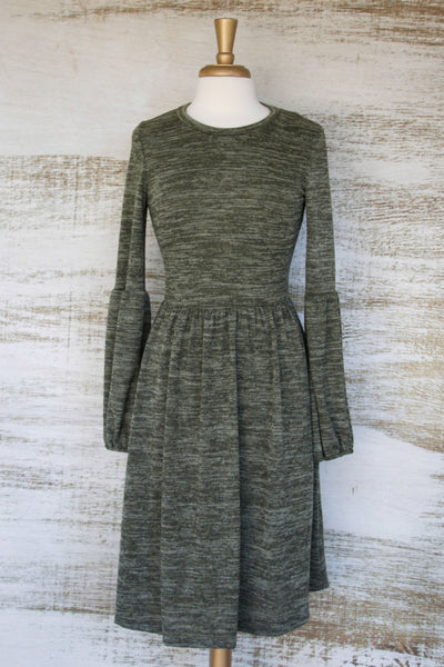 I Like Your Sleeves Knit Dress Olive