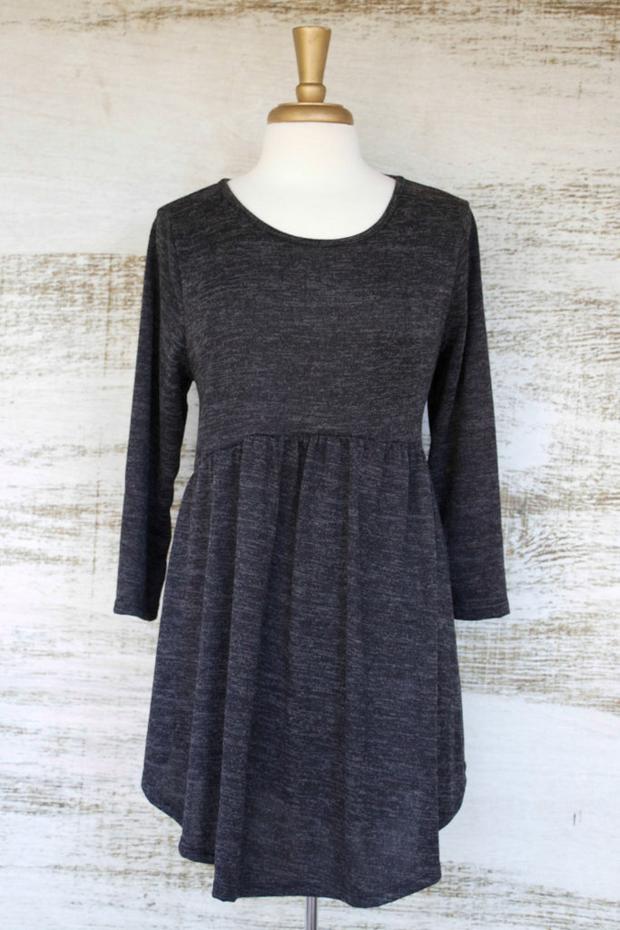 Miss Popular BabyDoll Tunic Charcoal
