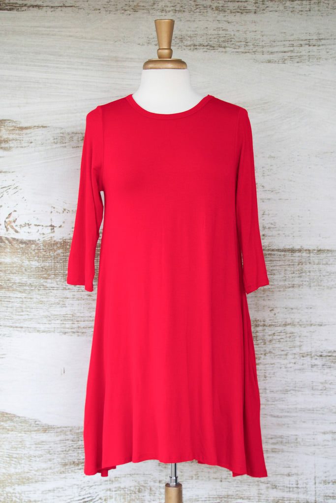 Easy Like Sunday Morning Dress with Pockets Red