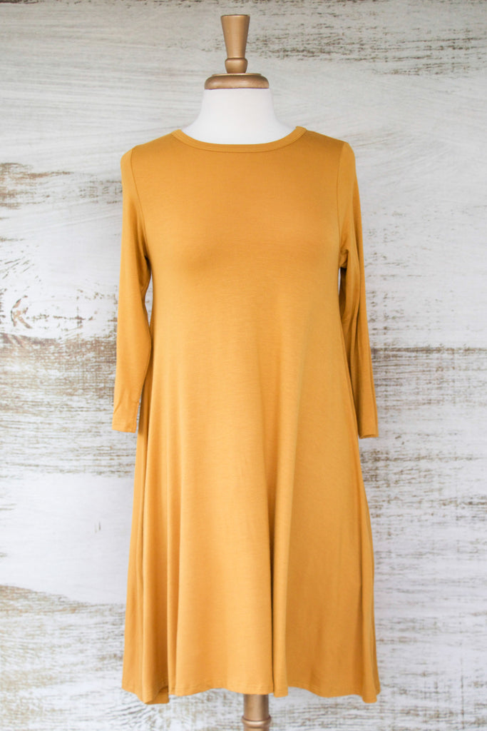 Easy Like Sunday Morning Dress with Pockets Mustard