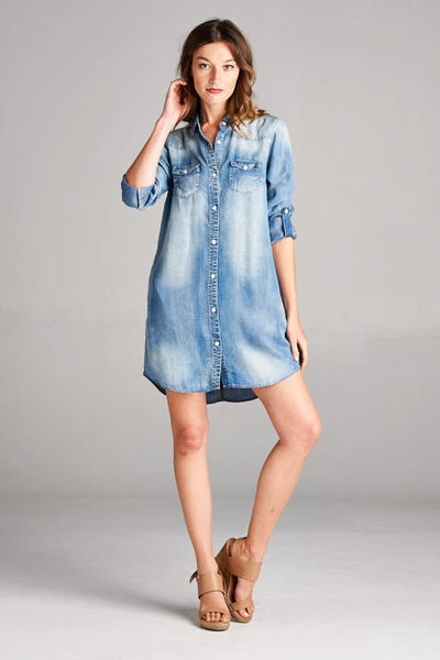 Distressed Denim Dress with Pockets