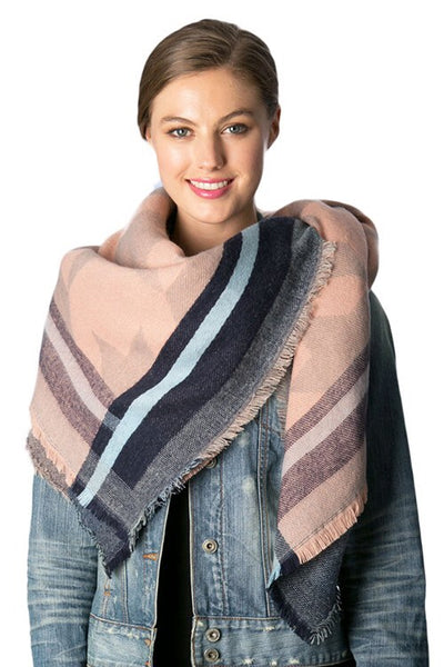 Snuggle Up Pink/Carolina Blue Blanket Scarf