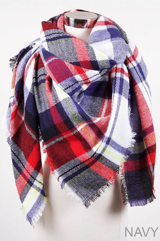 Snuggle Up Red/Blue Blanket Scarf