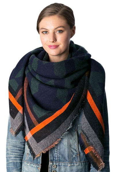 Snuggle Up Green/Orange Blanket Scarf
