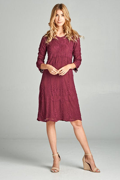 Sweet Dreams Burgundy Lace Dress